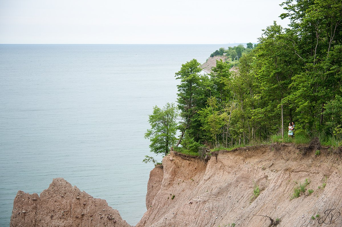 engagement photos in nature  chimney bluffs state park