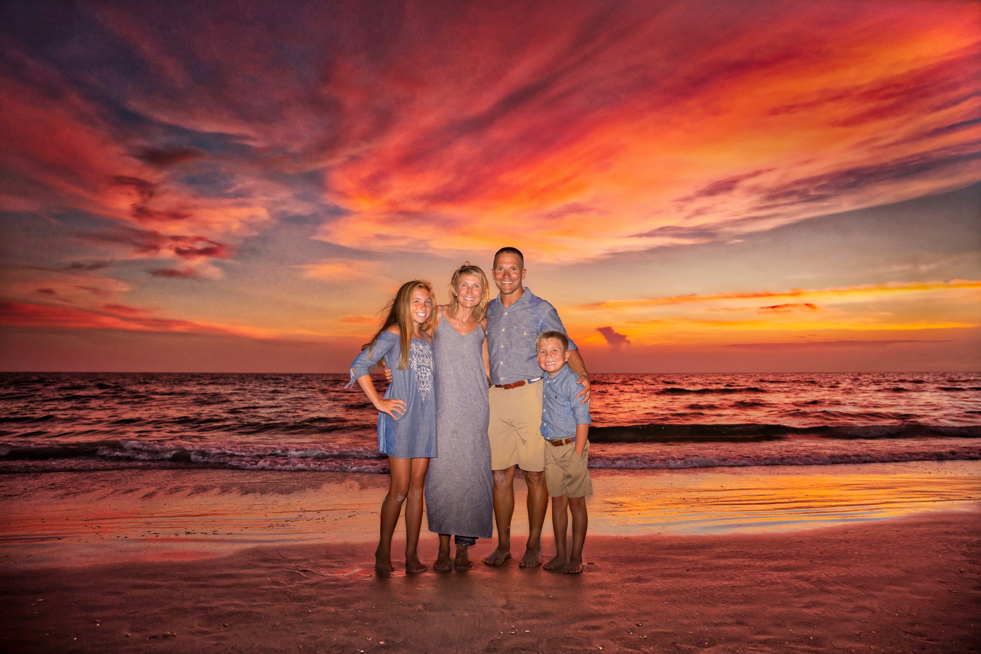 Brasseale beach family photos at sunset St. Pete Beach