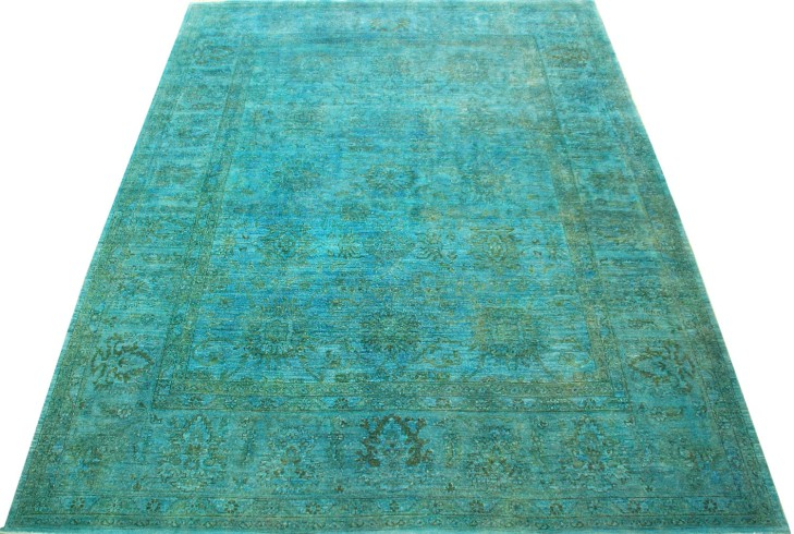 Blue Green Over Dyed Rug