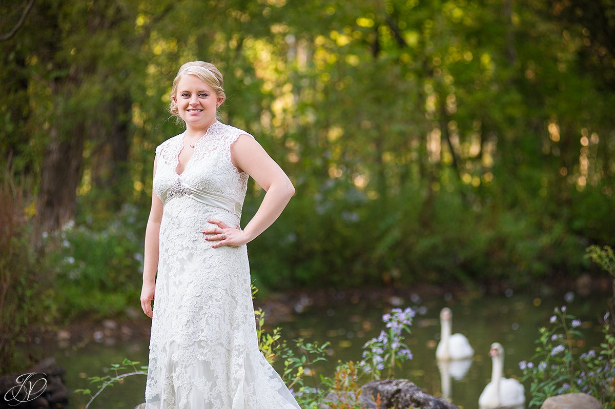 vintage gorgeous bridal portrait in front of pond