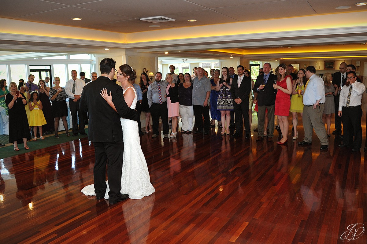 bride and groom first dance at reception