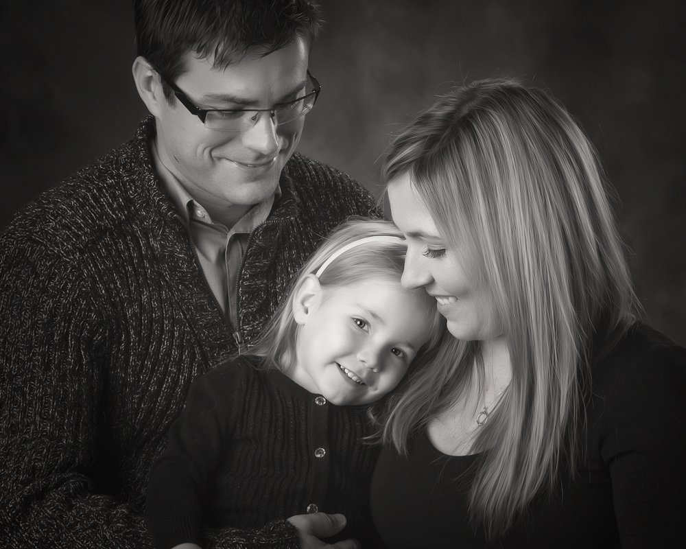 Fine art black and white family portrait studio in San Antonio