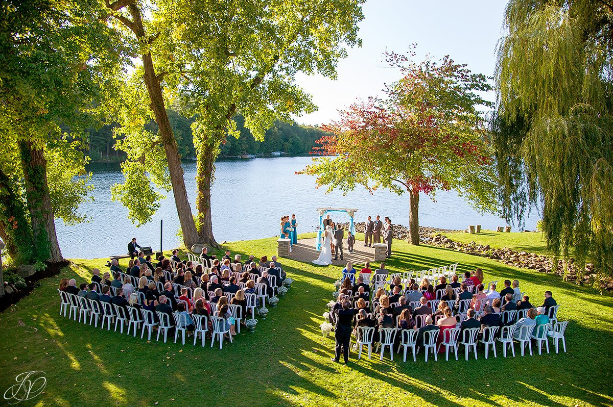 aerial view of wedding ceremony crooked lake