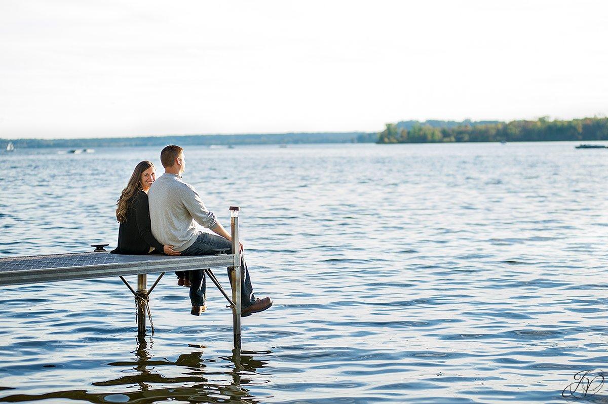 engaged couple on saratoga lake