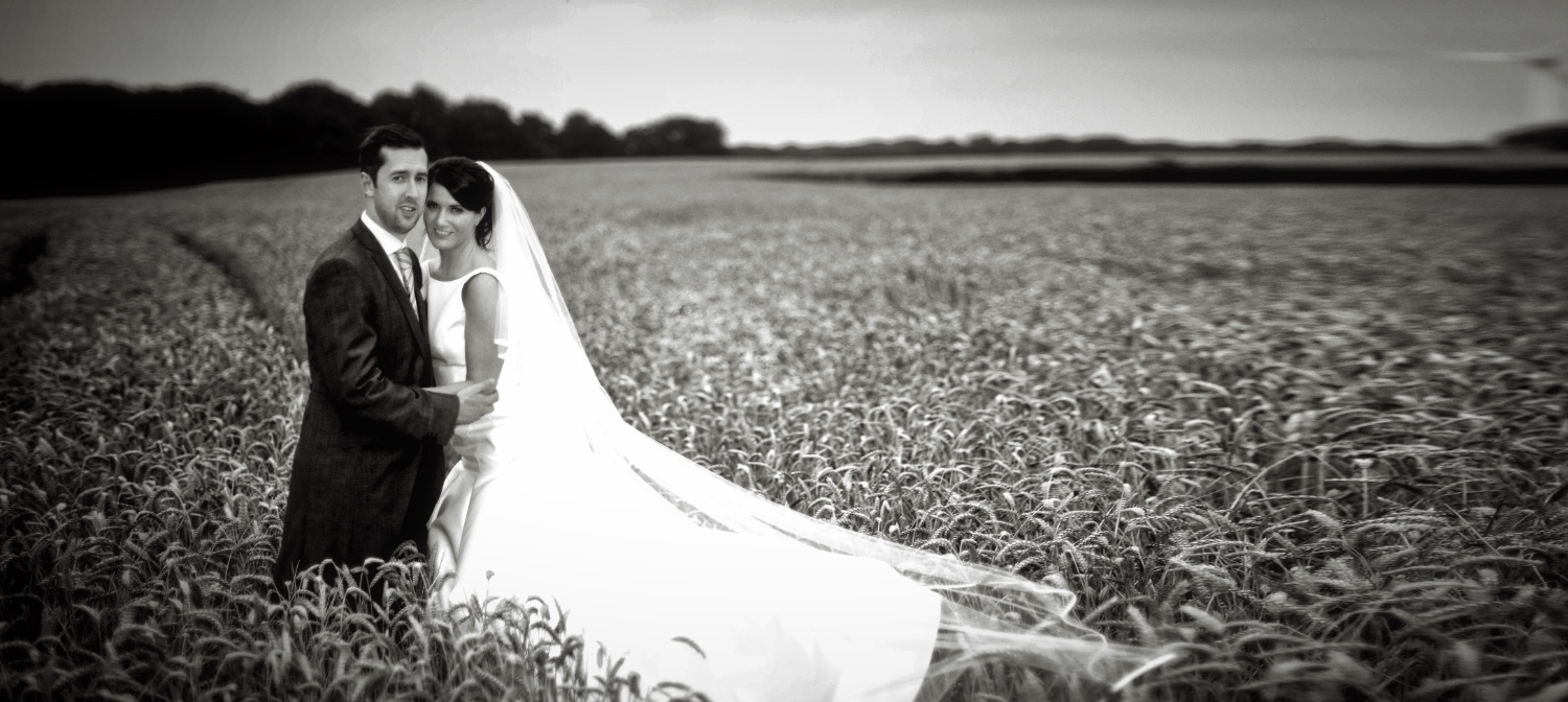 Lancashire wedding couple in field