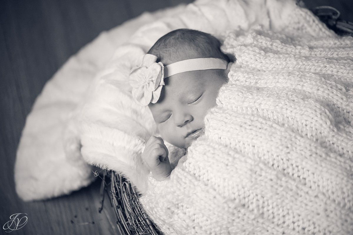 black and white photo of newborn sleeping in basket