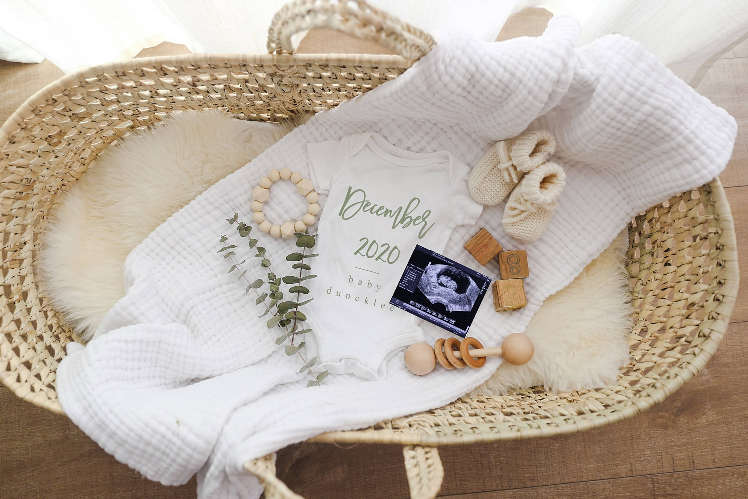 December 2020 baby announcement, Moses basket, muslin blanket, eucalyptus, sweet baby announcement