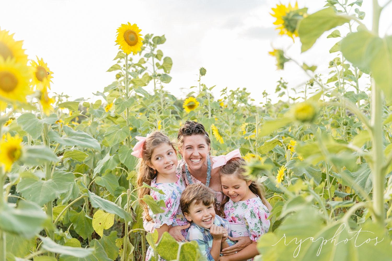 motherhood, sunflower portraits, mother with children in sunflower field, Rya Duncklee Photography