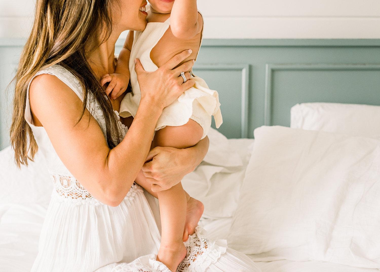 mom nuzzling baby daughter, white linen romper, Shop James, Rya Duncklee Photos