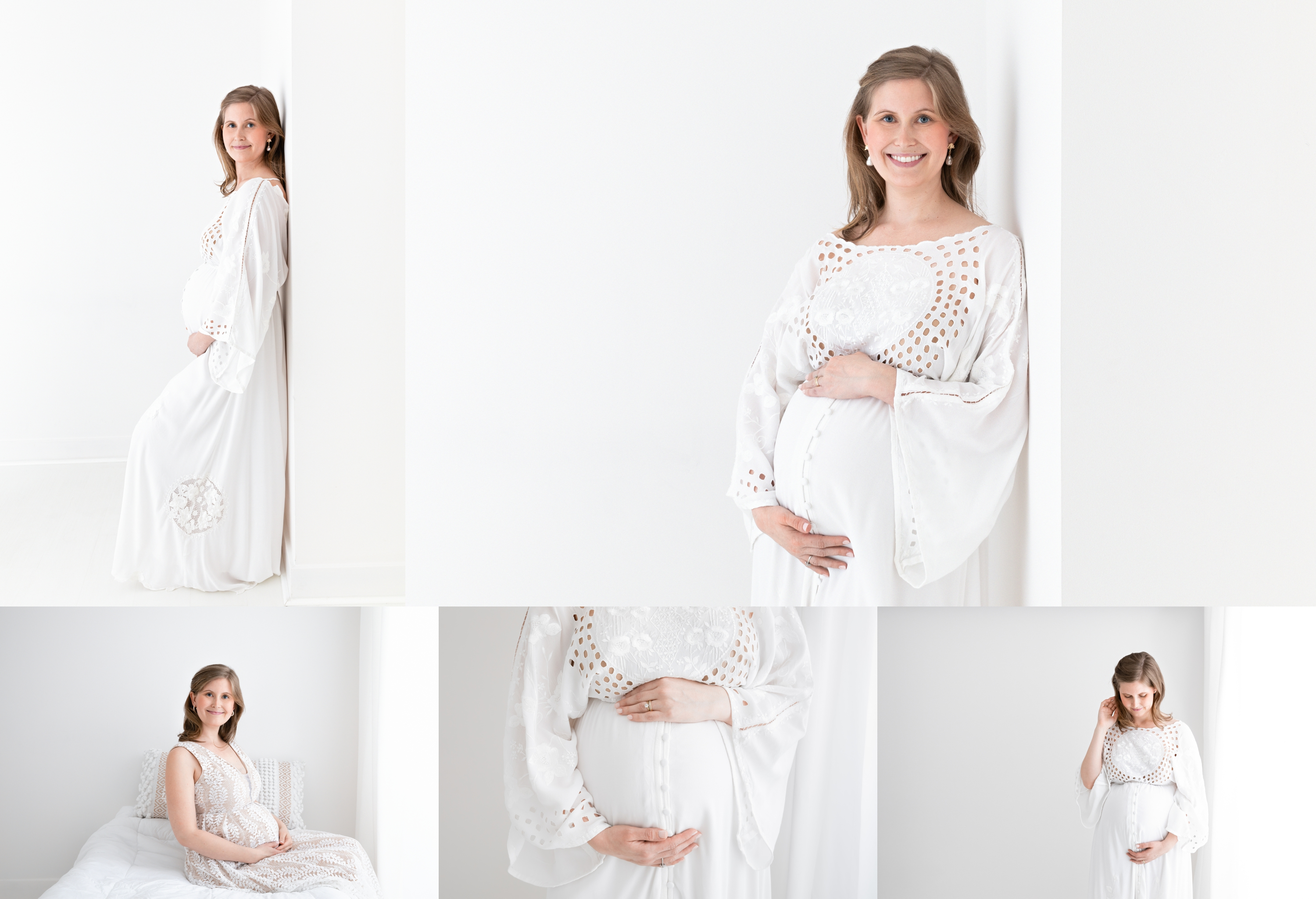 classic maternity photoshoot on white background in NYC maternity photo studio