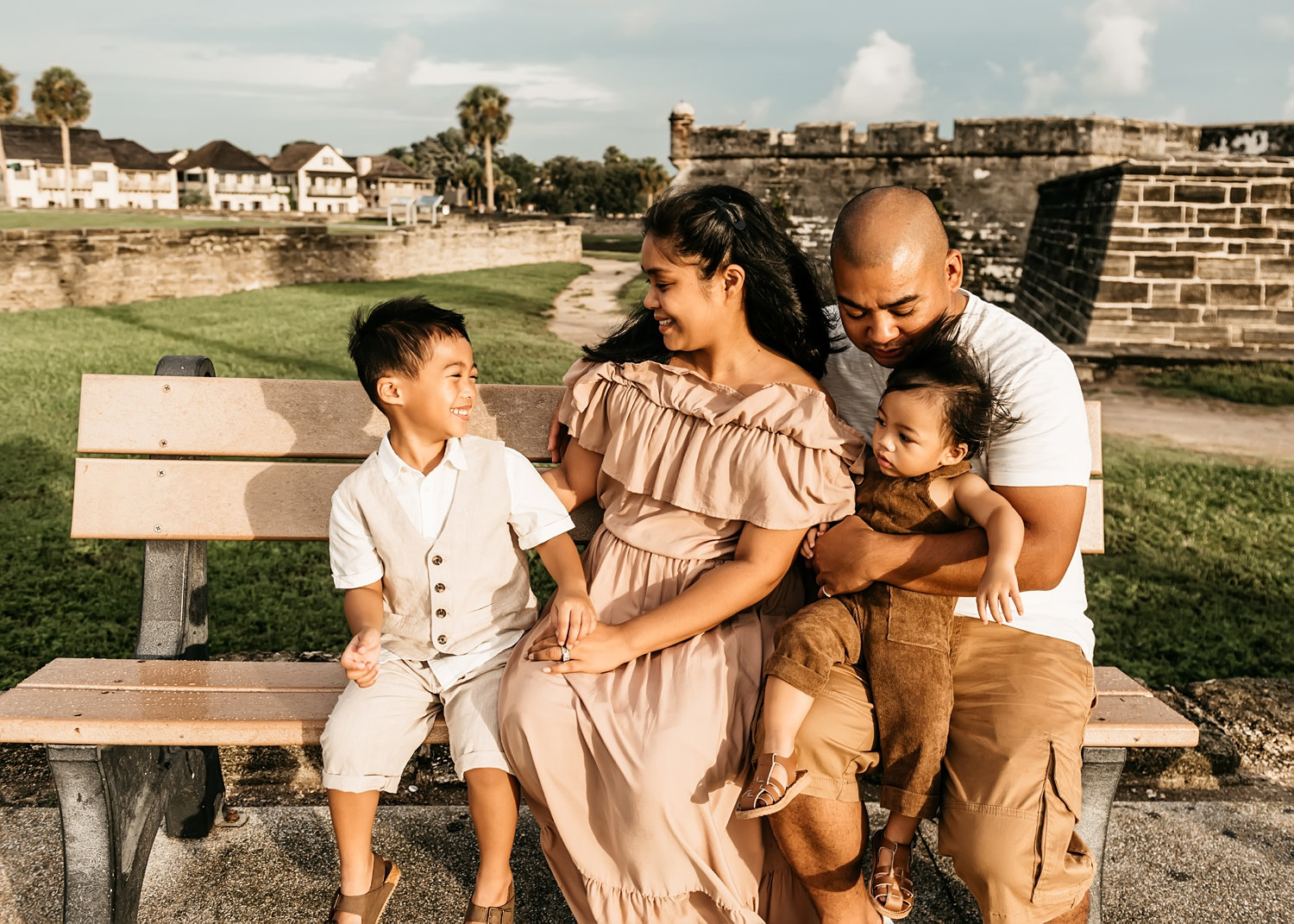 beautiful BIPOC family of four in Saint Augustine, Florida, Rya Duncklee Photography